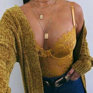 Tops - ❁ Boutique Golden Mustard Lace Bodysuit